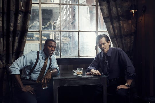 "Aldis Hodge as Decourcy Ward and Kevin Bacon as Jackie Rohr in ""City on a Hill."""