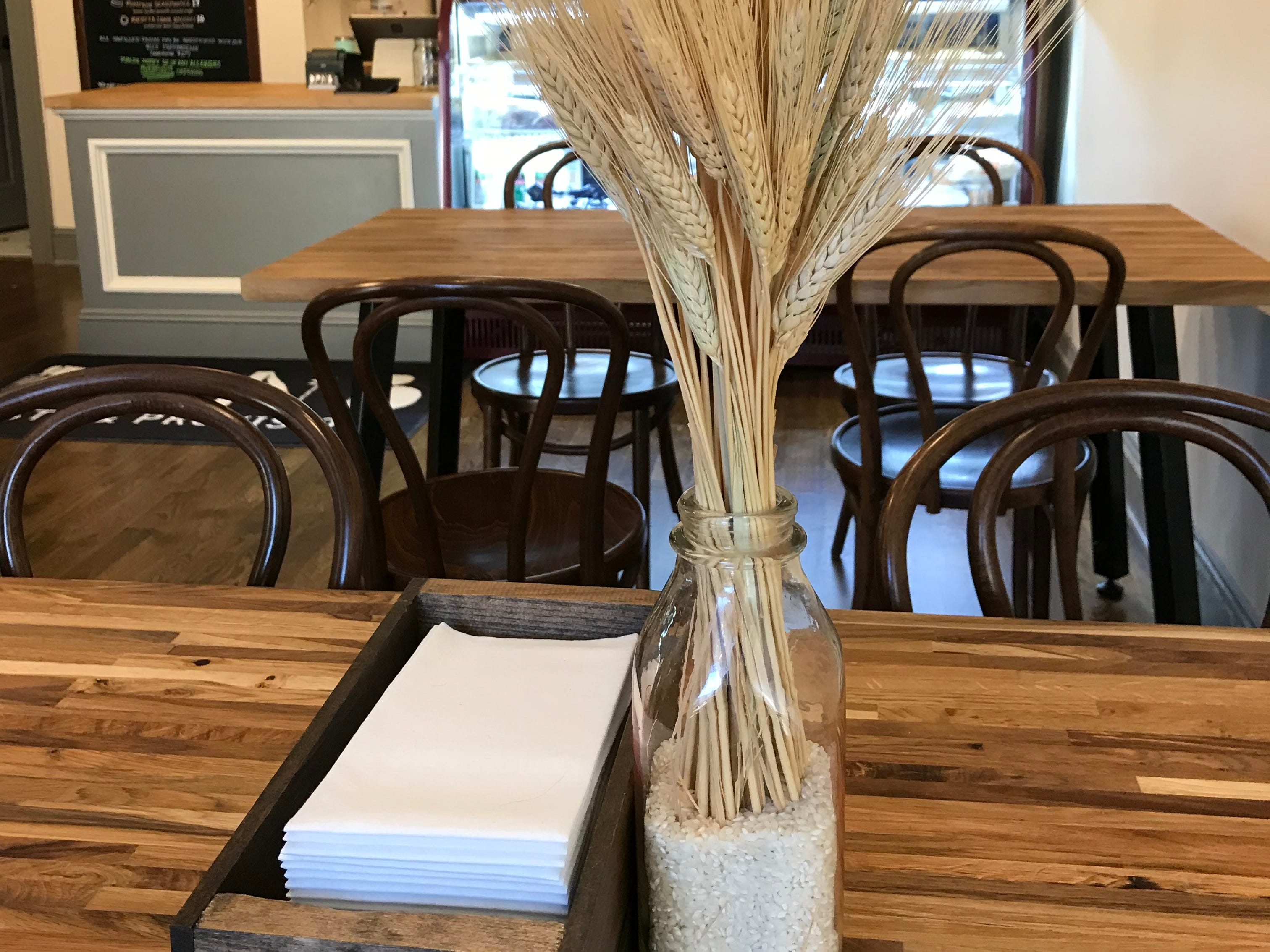There are two tables of four at DPNB Pasta & Provisions in Nyack.
