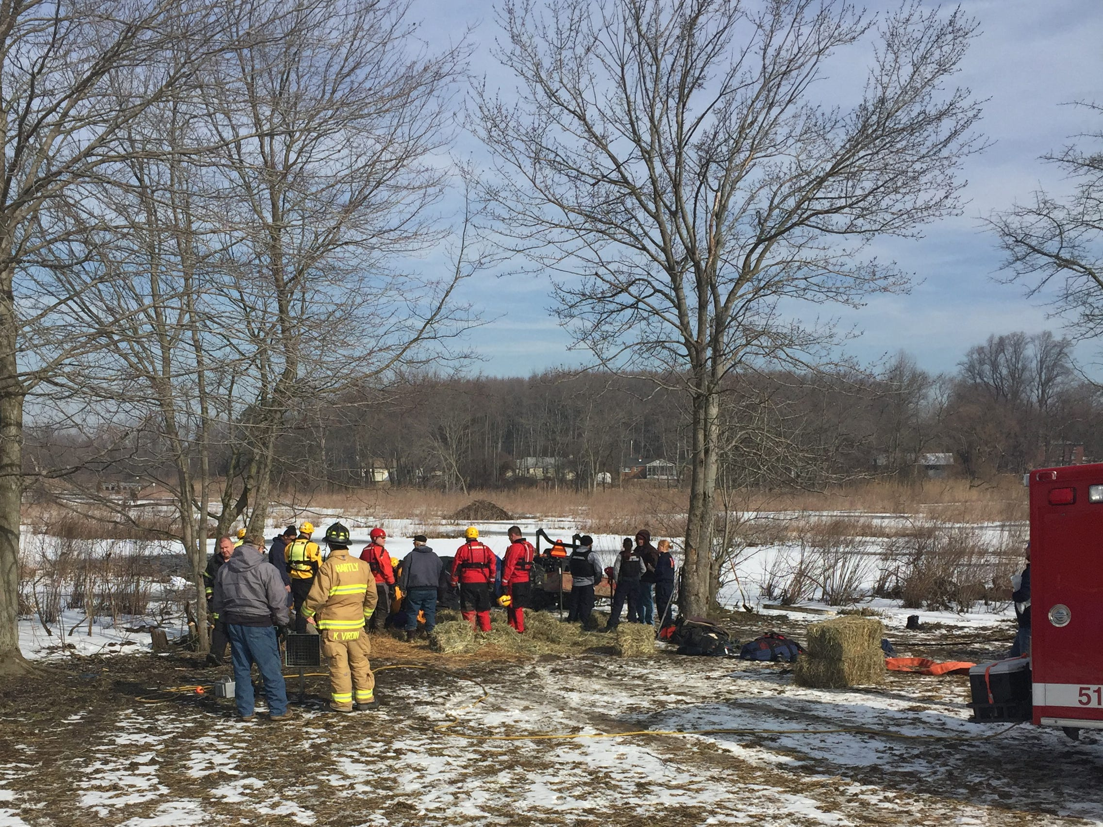 Members of the Delaware City Fire Company rescue a horse named 'Bubba' from the thick marsh at Dragon Run Creek Monday.