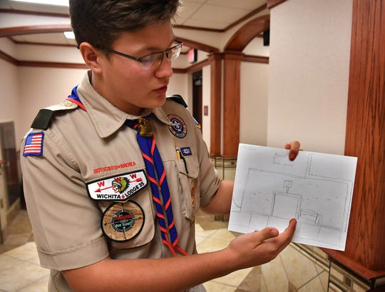 Wichita Falls Boy Scout Colin Myers describes his Eagle Scout project which was approved by the Wichita County Commissioners Court Monday morning. The project will beautify the area around the Charleye O. Farris Historical Marker at the courthouse.