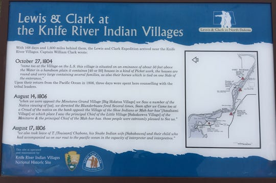 The Hidatsa Village, located at the Knife River Indian Villages National Historic Site near Stanton, North Dakota, is where Toussaint Charbonneau and one of his two wives, Sacagawea, joined the Corps of Discovery.