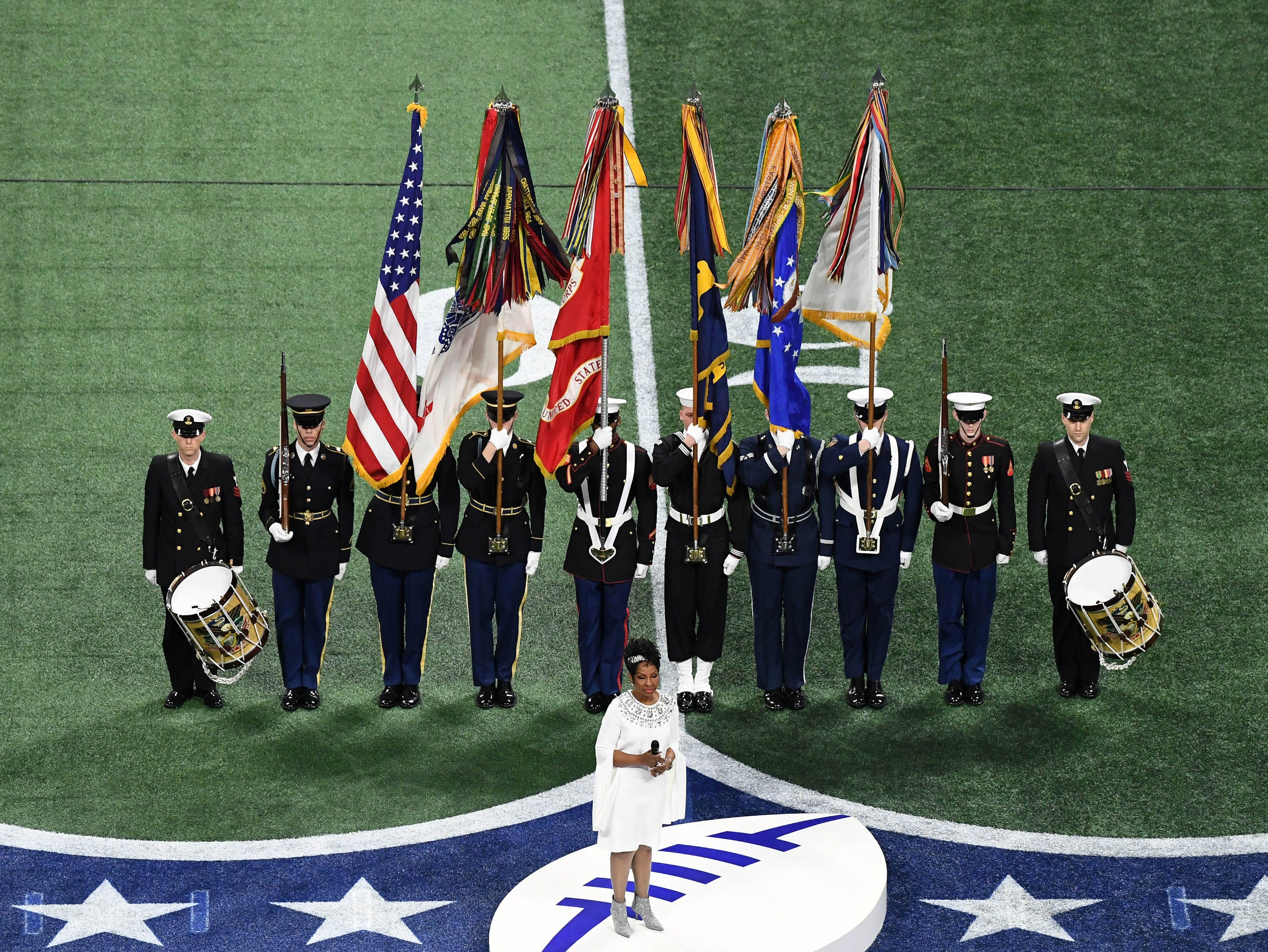 Singer Gladys Knight performs the National Anthem prior to Super Bowl LIII between the New England Patriots and the Los Angeles Rams at Mercedes-Benz Stadium.