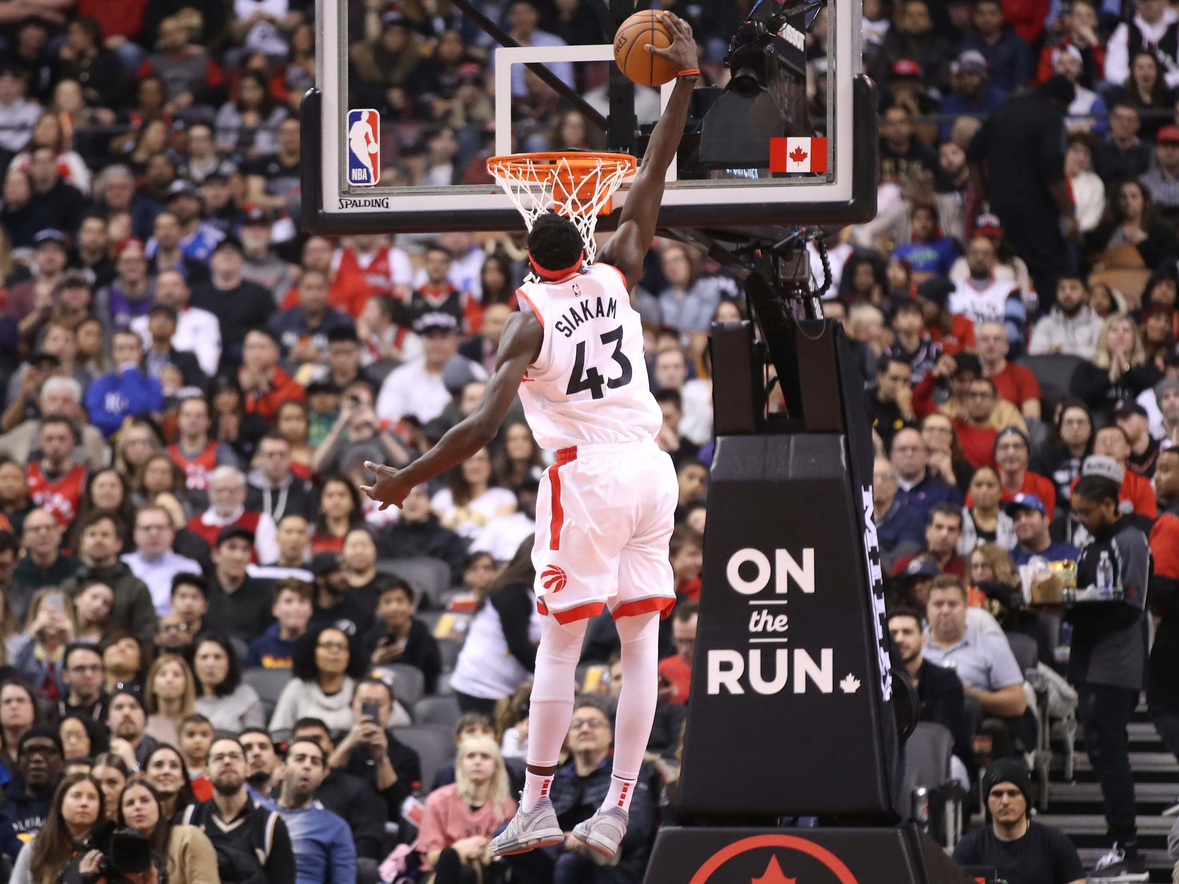 Feb. 3: Raptors forward Pascal Siakam rises up for the one-handed slam against the Clippers in Toronto.