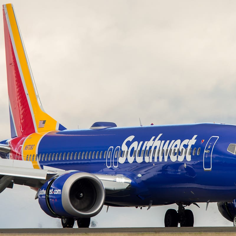 A Southwest Airlines Boeing 737 Max 8 jet lands at Seattle-Tacoma International Airport in December 2017.