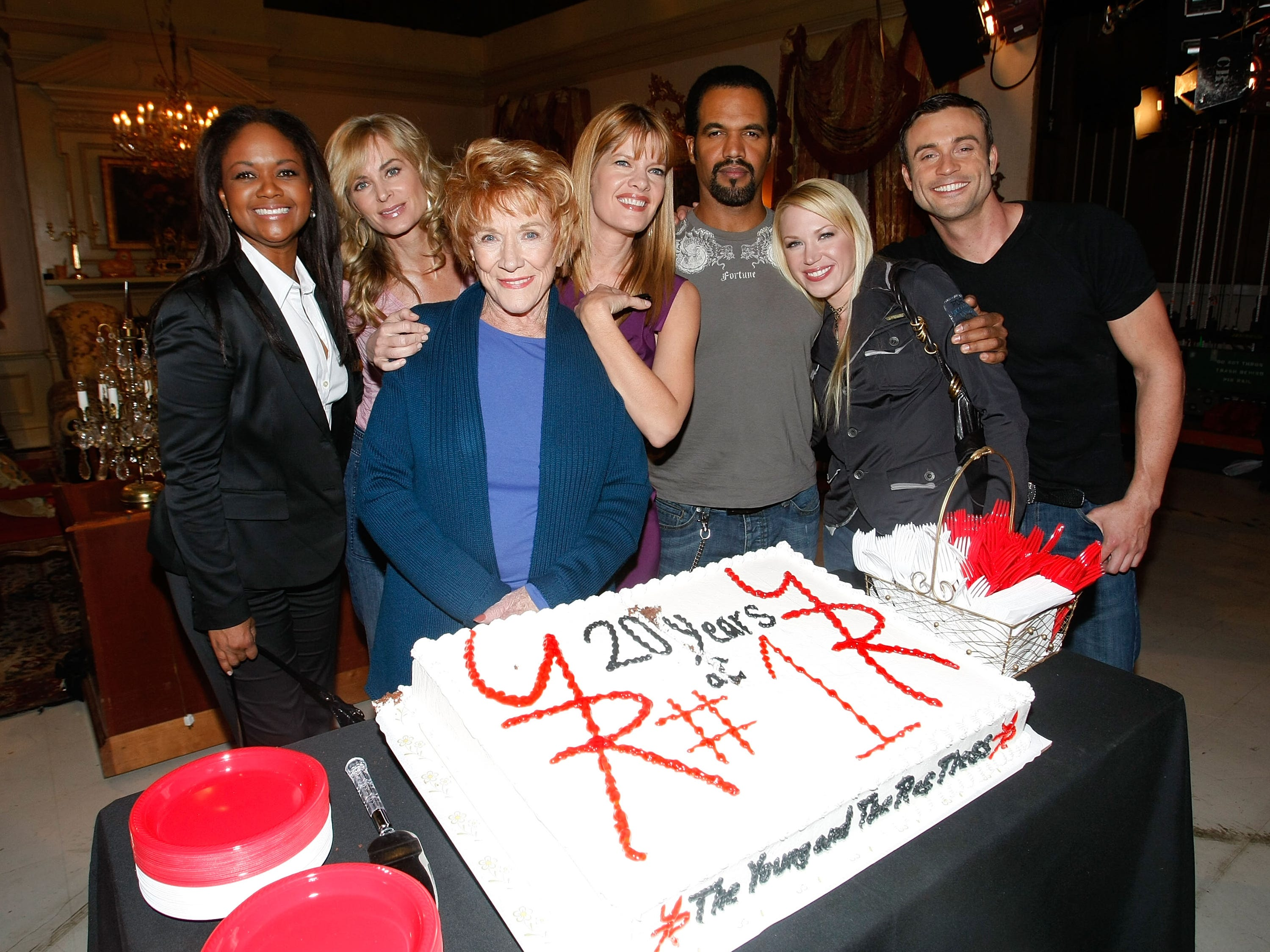 "Cast members of ""The Young and the Restless"" actors Tonya Lee Williams, Eileen Davidson, Jeanne Cooper, Michelle Stafford, Kristoff St. John, Adrienne Frantz and Daniel Godbard attend the cake cutting ceremony celebrating ""The Young and the Restless"" staying the number one rated daytime drama series for twenty years straight Dec. 11, 2008 in Los Angeles."