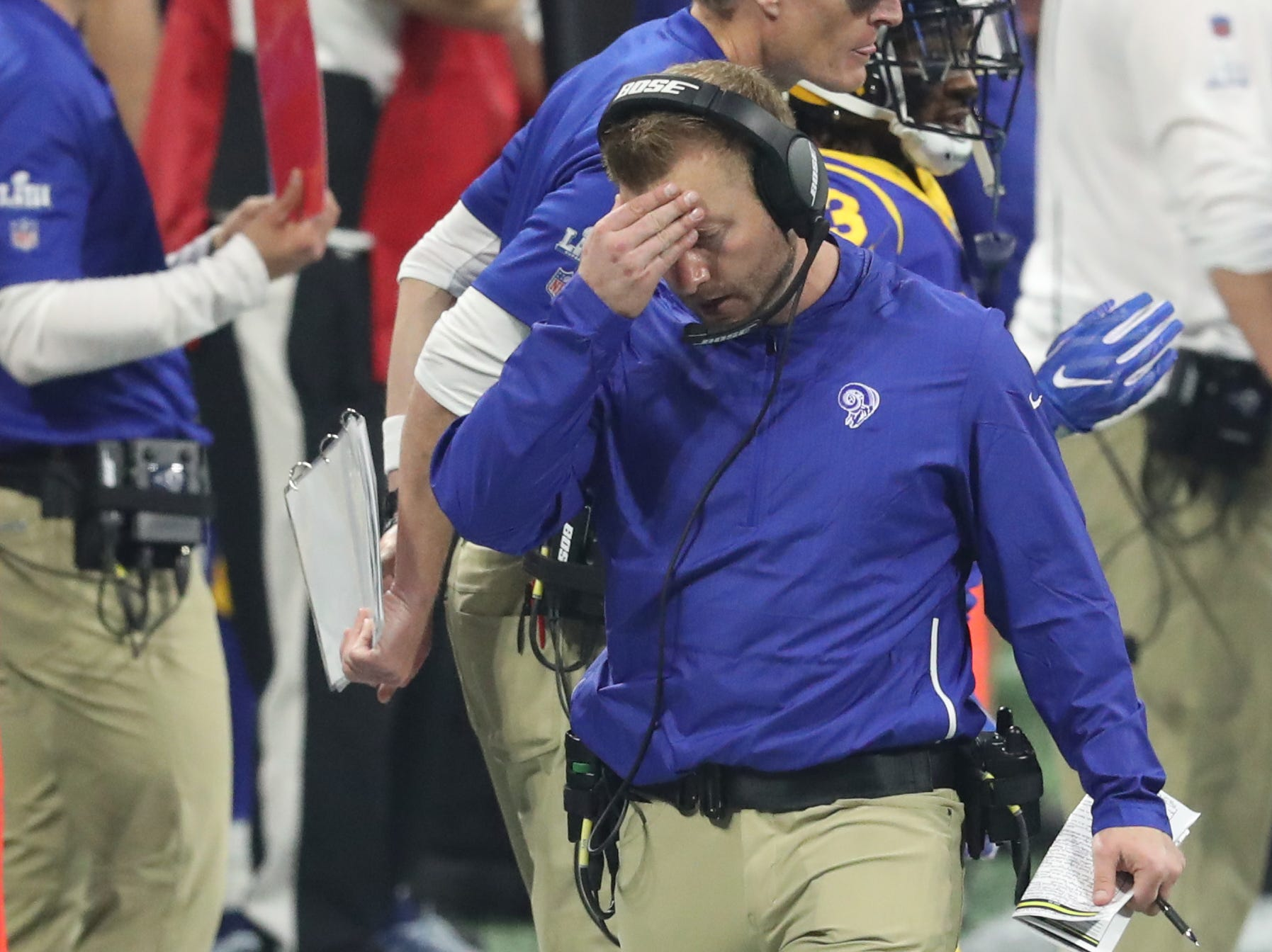 Los Angeles Rams head coach Sean McVay reacts after his quarterback threw an interception during the fourth quarter of Super Bowl LIII.