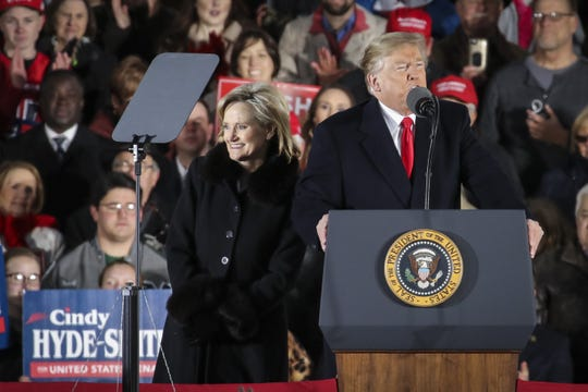 Sen. Cindy Hyde-Smith and President Donald Trump during a rally at the Tupelo Regional Airport, Nov. 26, 2018.