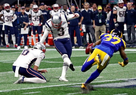 New England Patriots kicker Stephen Gostkowski (3) kicks the game-clinching field goal late in the fourth quarter of Super Bowl LIII.