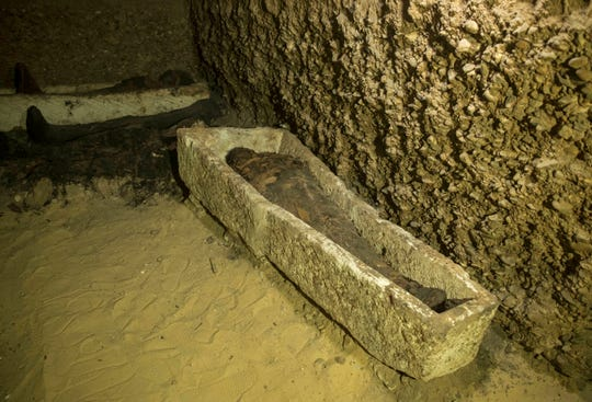 A recently discovered burial chamber in the desert province of Minya, south of Cairo.
