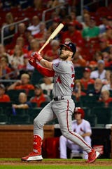 Bryce Harper slugged 34 home runs last season with the Nationals.
