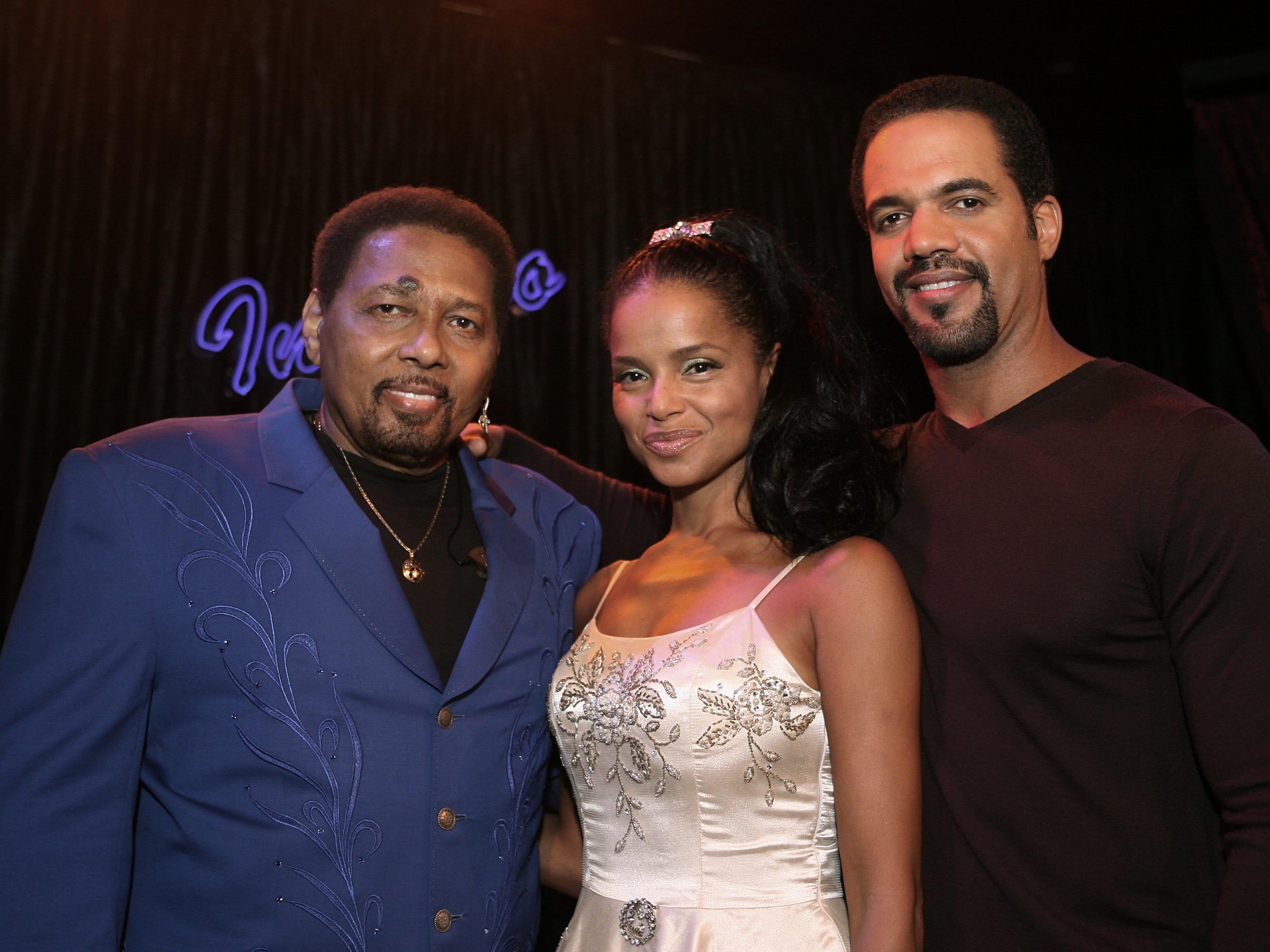 "Recording artist Aaron Neville and actors Victoria Rowell and Kristoff St. John on the set of ""The Young and The Restless,"" Sept. 18, 2006 in Los Angeles."