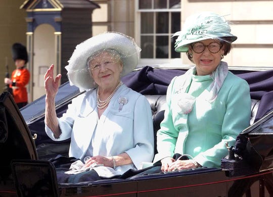 Princess Margaret with her mother,  the Queen Mother, in a carriage as they leave Buckingham Palace for the annual Trooping the Colour ceremony, in June 2000. Within two years, both would be dead.