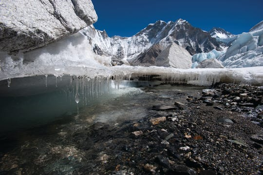 The Khumbu Glacier Nepal, pictured in 2009, is one of the Himalayan glaciers threatened by global warming,