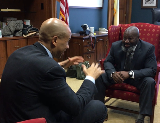 Sen. Cory Booker, D-N.J., met with Matthew Charles in the senator's office in Washington, D.C.,  Jan. 29, 2019.