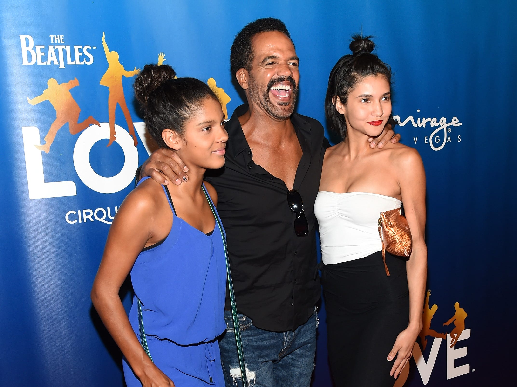 "Lola St. John, Kristoff St. John and Paris St. John attend the 10th anniversary celebration of ""The Beatles LOVE by Cirque du Soleil"" at The Mirage Hotel & Casino in Las Vegas, July 14, 2016."