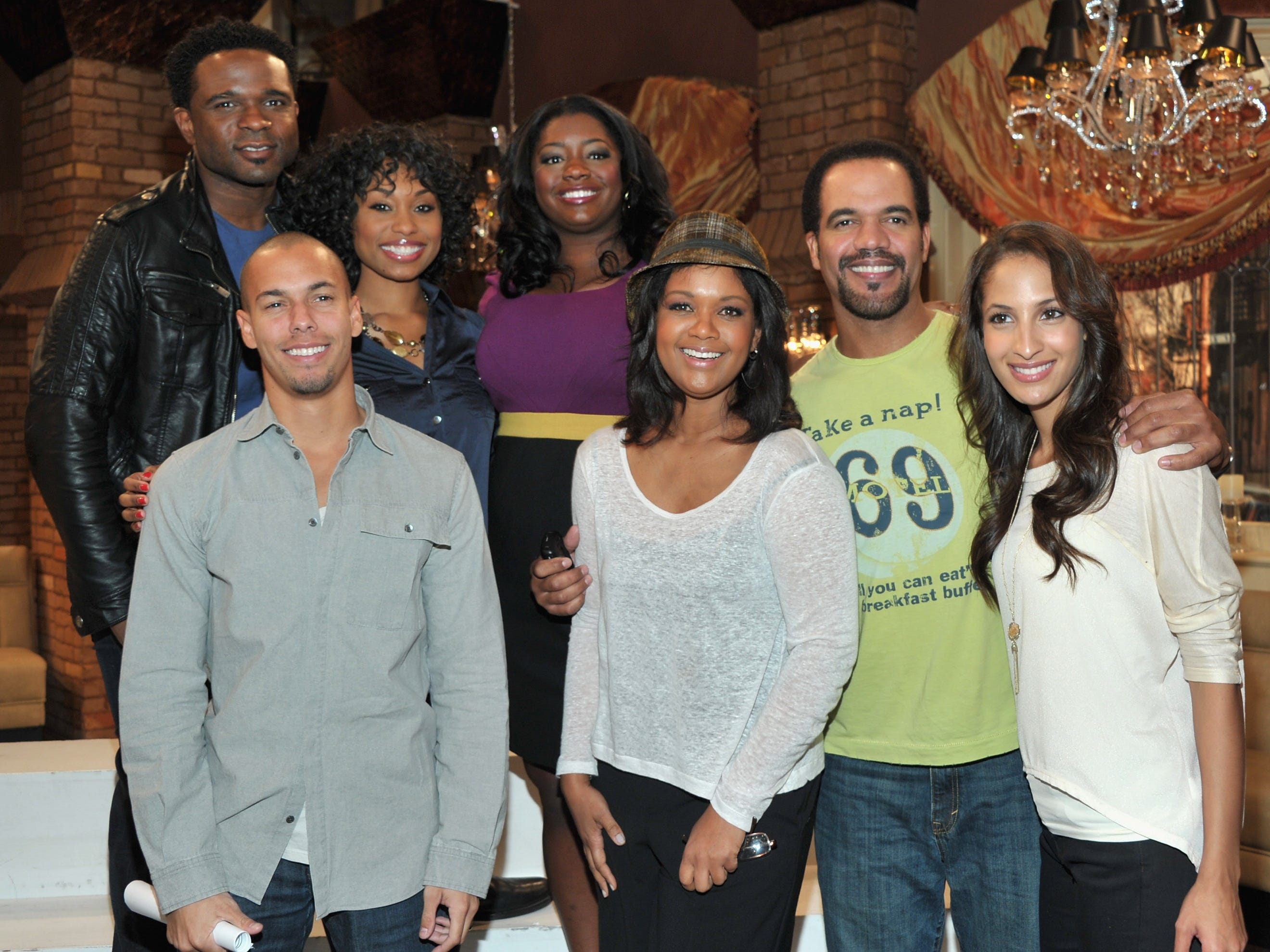 "Darius McCrary, Angell Conwell, Julia Pace Mitchell, Bryton James, Tonya Lee Williams, Kristoff St John, Christel Khalil Hensley attend CBS' ""The Young and the Restless"" 38th Anniversary cake cutting, March 24, 2011 in Los Angeles."