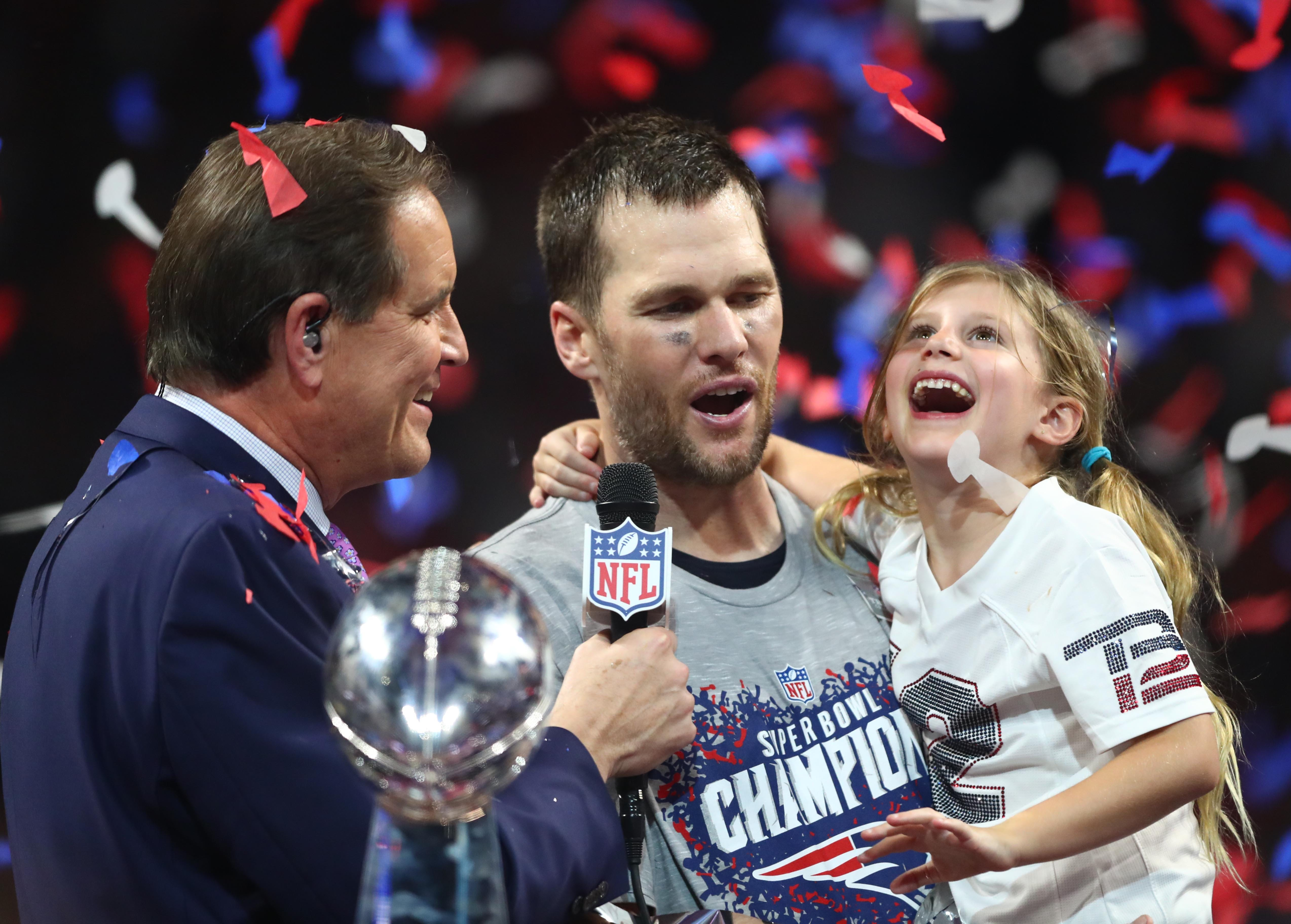 Tom Brady is interviewed by CBS' Jim Nantz after defeating the Rams in Super Bowl LIII.