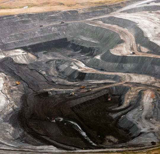 A coal mine is seen from the air near Gillette, Wyoming, on Aug. 22, 2006.