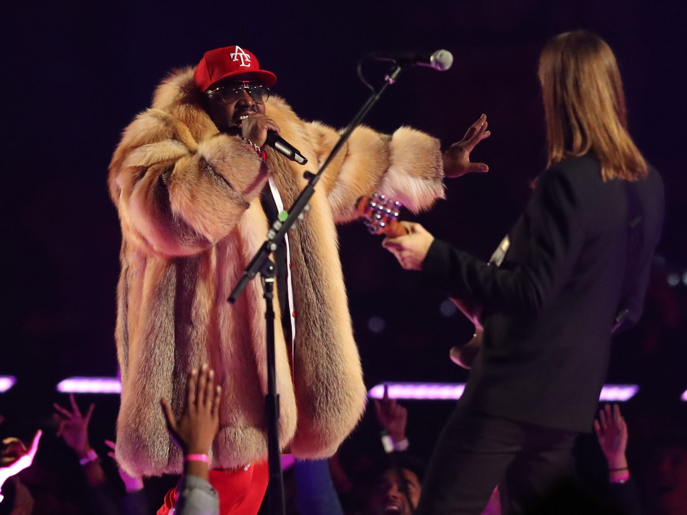 Recording artist Big Boi performs with Maoon 5 during the Super Bowl LIII halftime show at Mercedes-Benz Stadium in Atlanta.