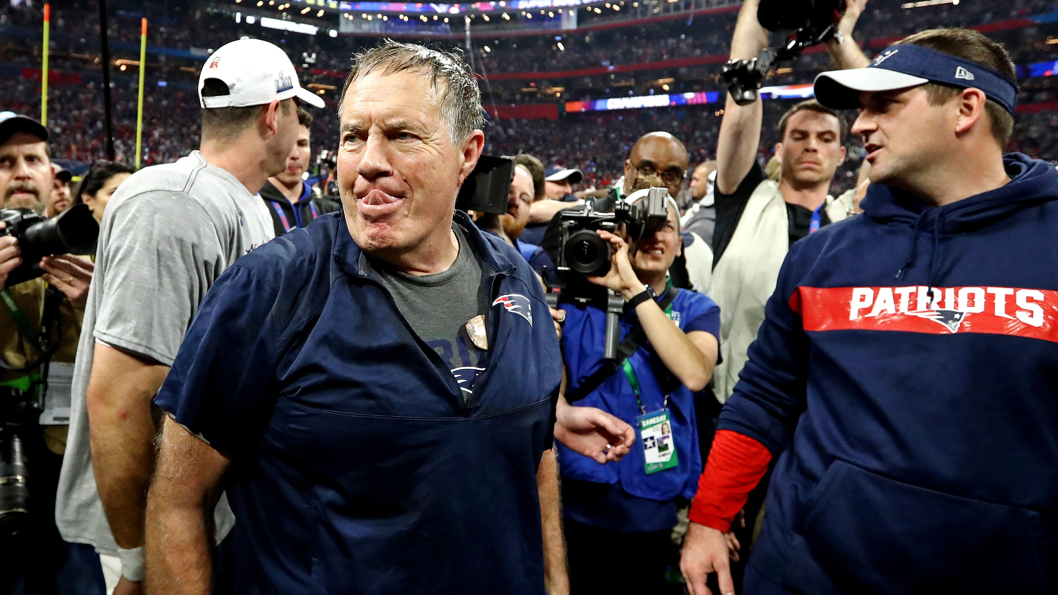 New England Patriots head coach Bill Belichick celebrates after beating the Los Angeles Rams in Super Bowl LIII at Mercedes-Benz Stadium.