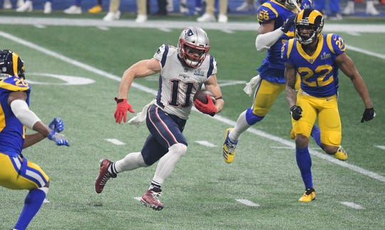 New England Patriots wide receiver Julian Edelman breaks free after a catch against the Los Angeles Rams in Super Bowl LIII.