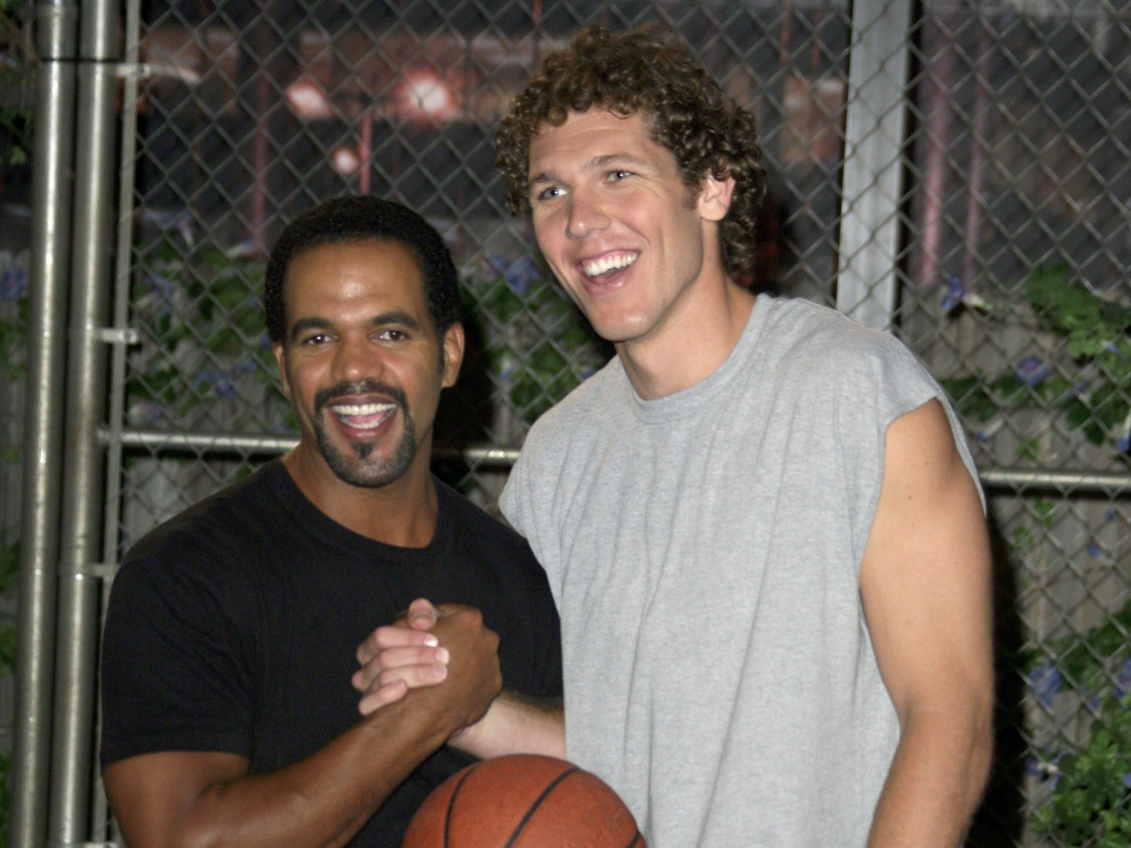 "Luke Walton of the Los Angeles Lakers and actor Kristoff St. John pose together during rehearsal as Walton makes his debut on the CBS daytime television drama ""The Young and the Restless"" July 26, 2006 in Los Angeles."