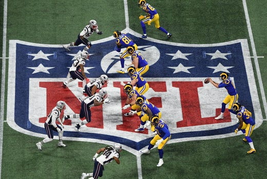 The New England Patriots, left, knocked off the Los Angeles Rams 13-3 in Super Bowl LIII at Mercedes-Benz Stadium in Atlanta.