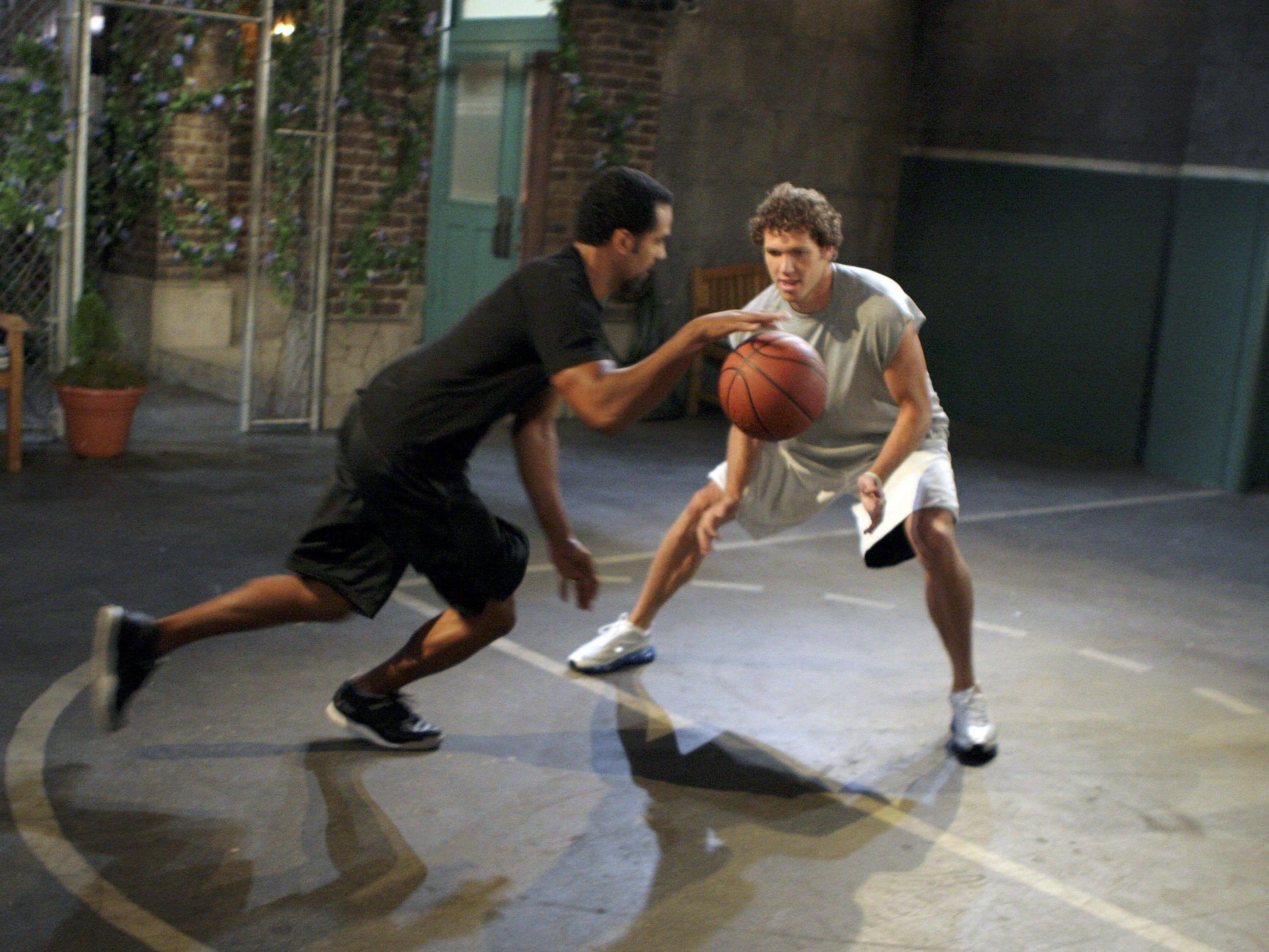 "Luke Walton of the Los Angeles Lakers and actor Kristoff St. John rehearse as Walton makes his debut on the CBS daytime television drama ""The Young and the Restless,"" July 26, 2006 in Los Angeles."