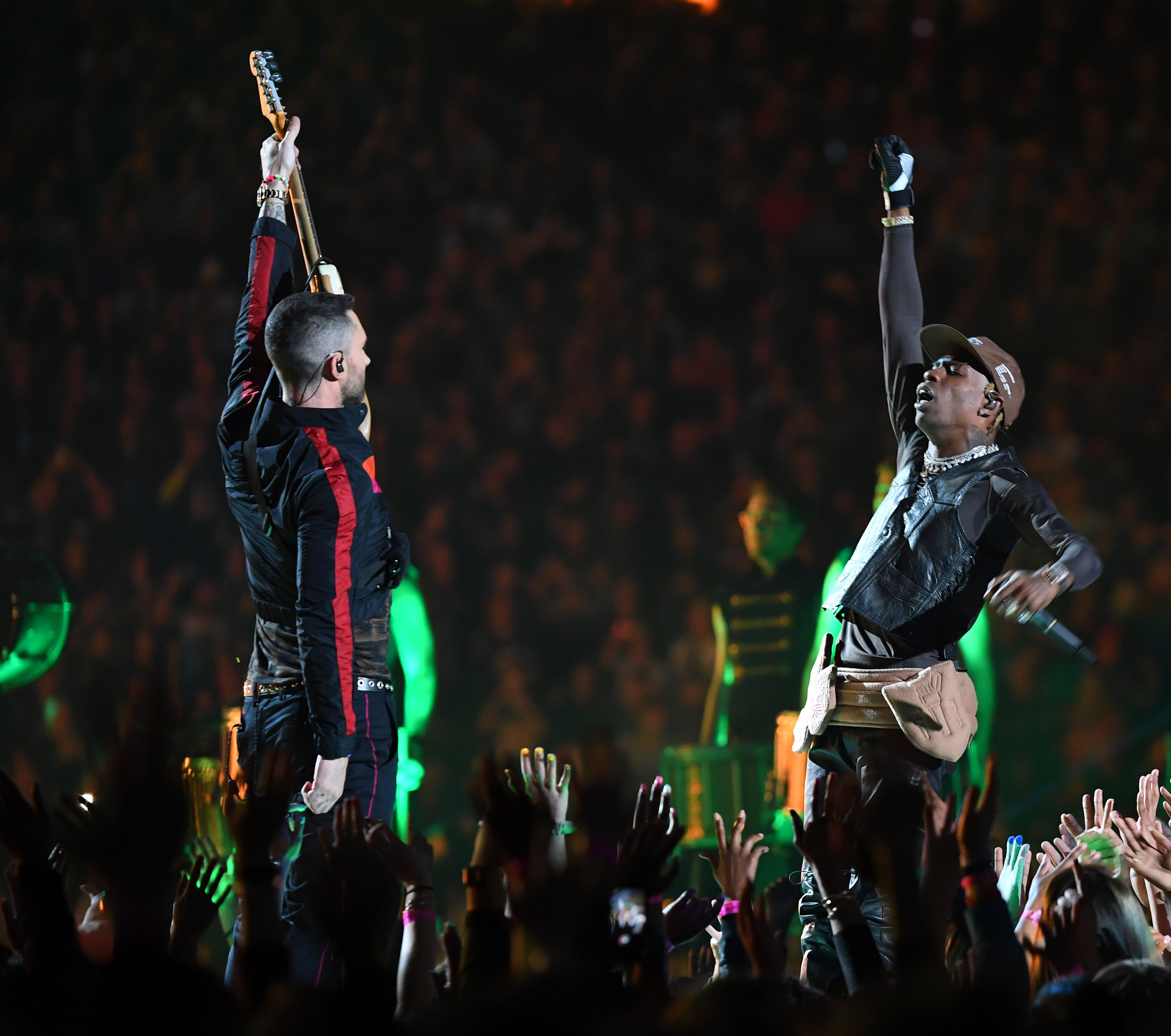 Image result for travis scott maroon 5 superbowl performance shirtless