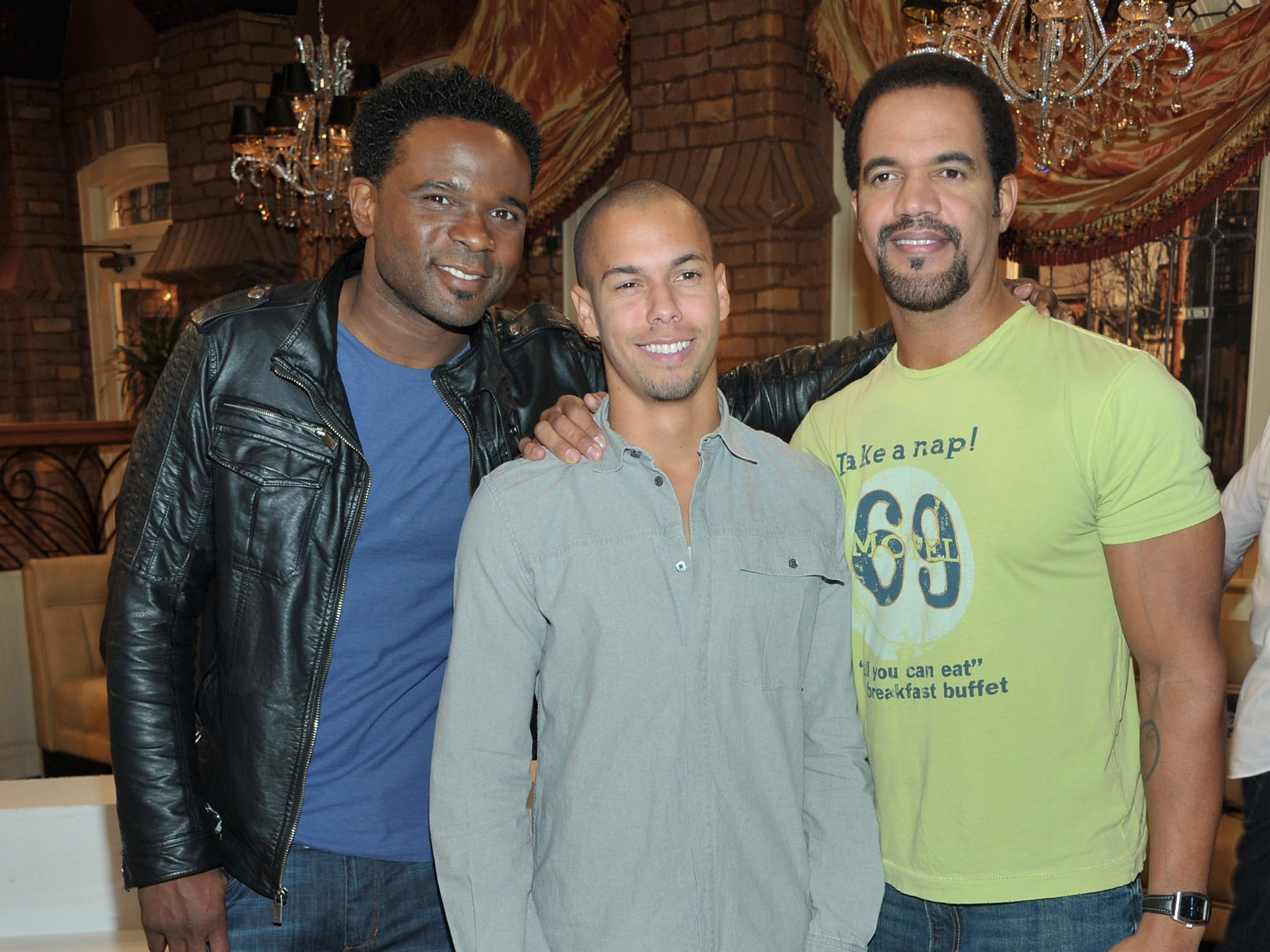 "Darius McCrary, Bryton James and Kristoff St. John attend CBS' ""The Young and the Restless"" 38th Anniversary cake cutting, March 24, 2011 in Los Angeles."
