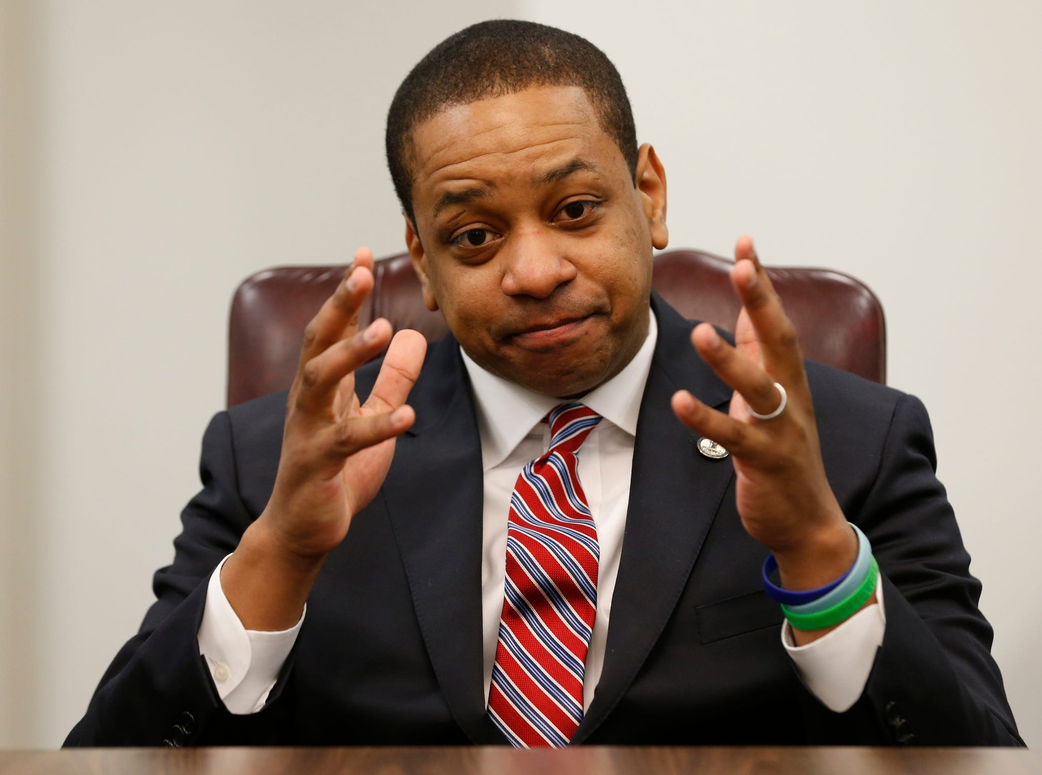 Virginia Lt. Gov. Justin Fairfax speaks during an interview in his office in Richmond, Va., Feb. 2, 2019, about the controversial photo in Gov. Ralph Northam's yearbook page.