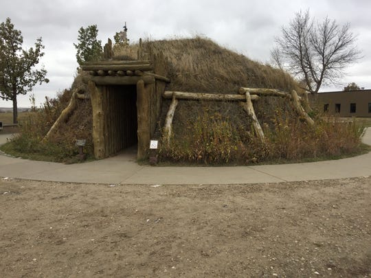 A replica of a Hidatsa earthlodge at the Knife River Indian Villages National Historic Site near Stanton, North Dakota.