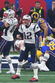 Tom Brady celebrates after the Patriots scored the go-ahead touchdown in Super Bowl LIII.