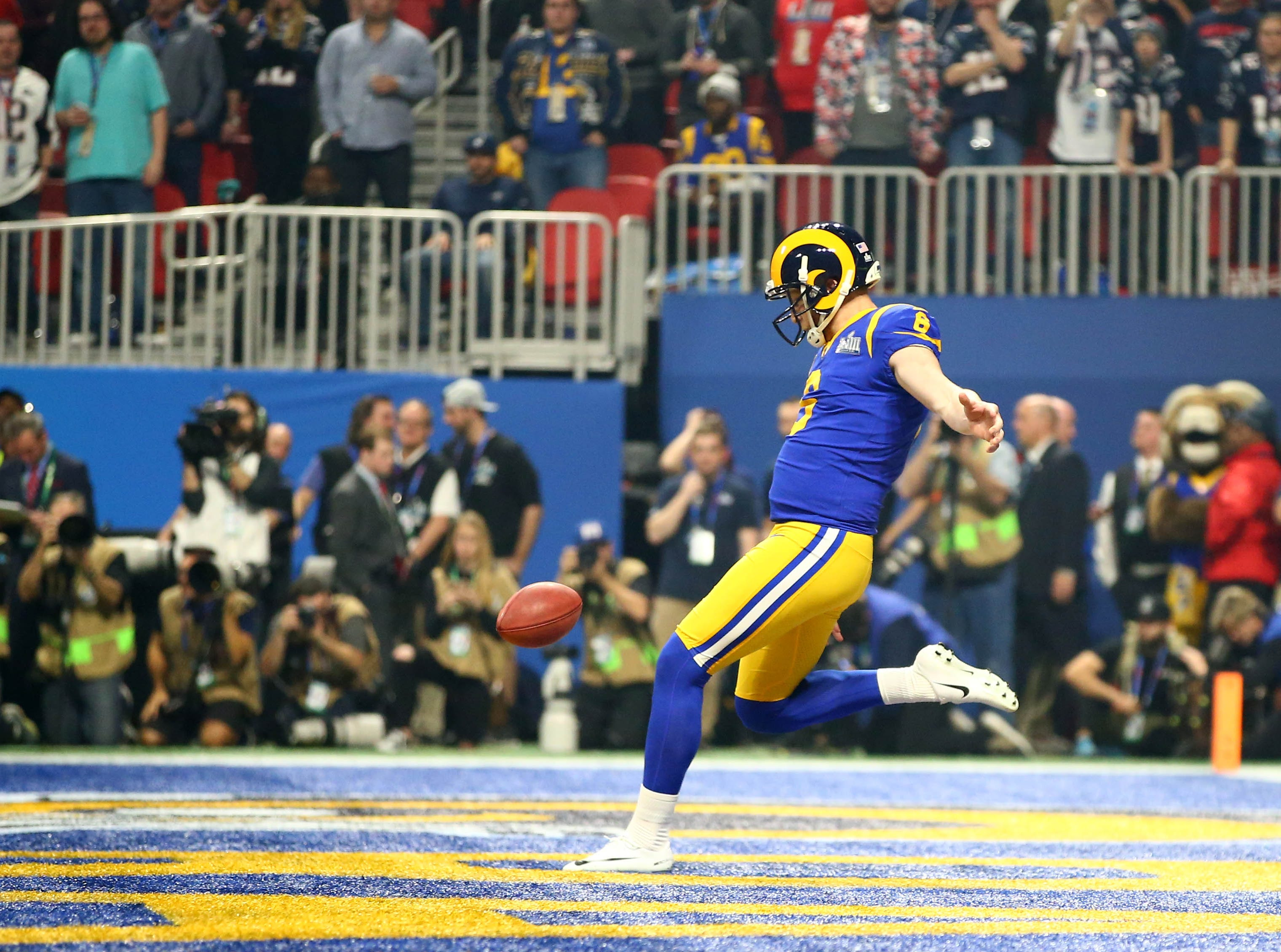 Los Angeles Rams punter Johnny Hekker (6) booms a Super Bowl-record 65-yard punt against the New England Patriots during the third quarter of Super Bowl LIII at Mercedes-Benz Stadium.