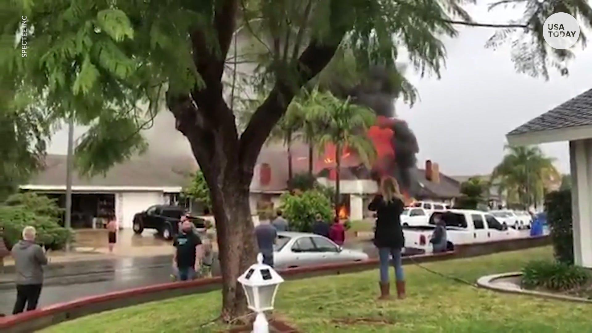 Plane crashes into neighborhood in Yorba Linda, California