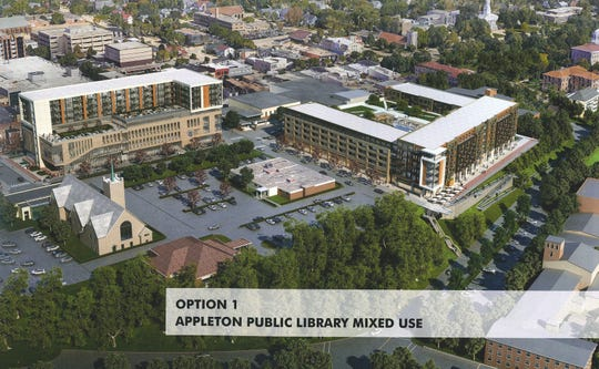 A development proposal by Commercial Horizons shows a new Appleton Public Library and housing complex in place of the Soldiers Square parking ramp. Additional housing and parking could be built on Bluff Site 2 to the southeast.