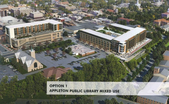 A development proposal by Commercial Horizons shows a new Appleton Public Library and housing complex (upper left) in place of the Soldiers Square parking ramp. Additional housing and parking could be built on a bluff site to the southeast.
