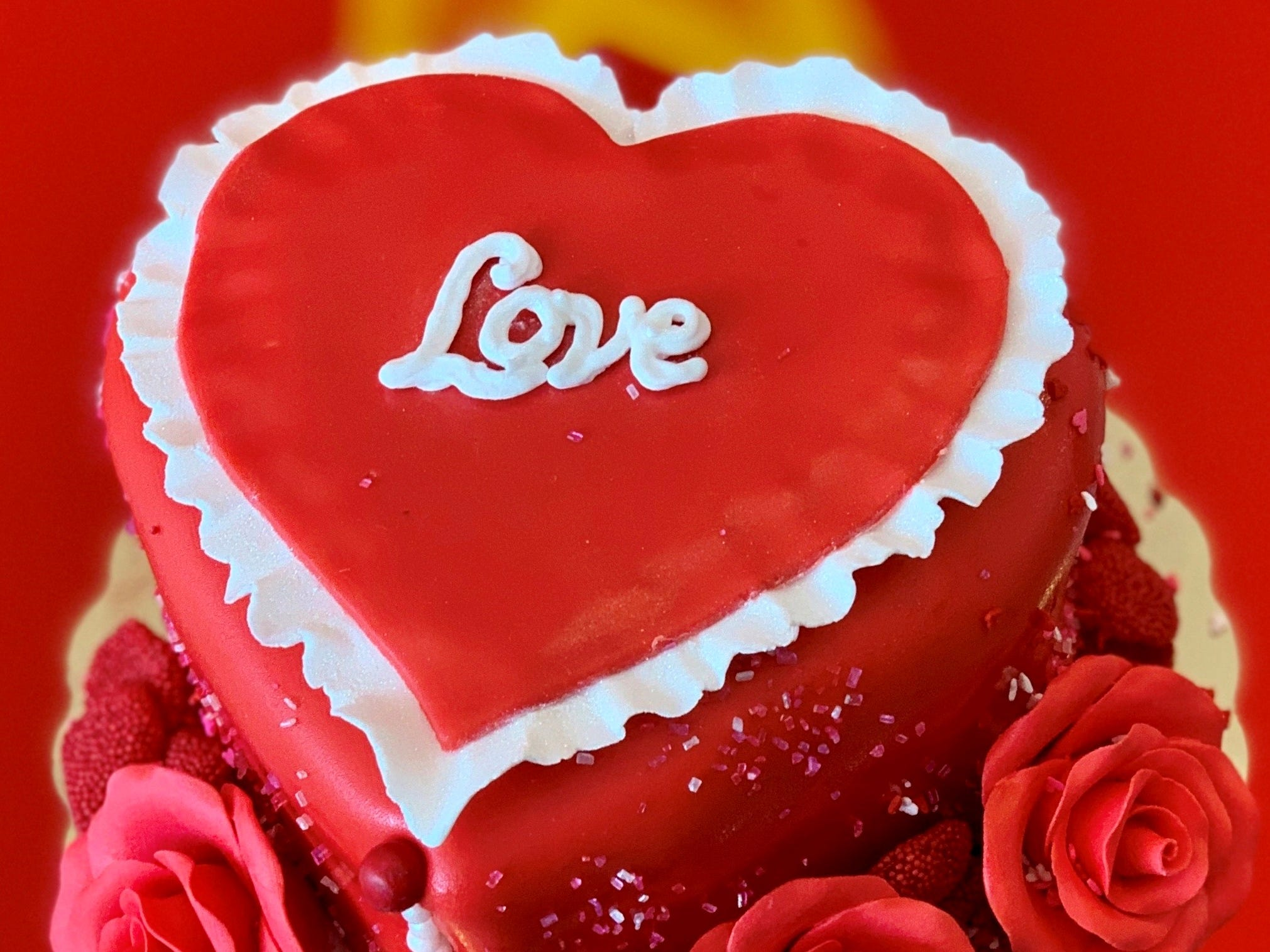 A Valentine's Day ice cream cake from Coney Waffle.
