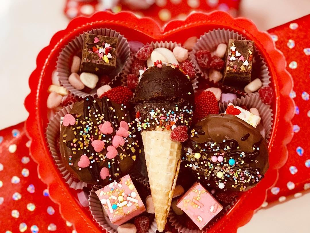 Handcrafted Valentine's Day sweets from Coney Waffle.