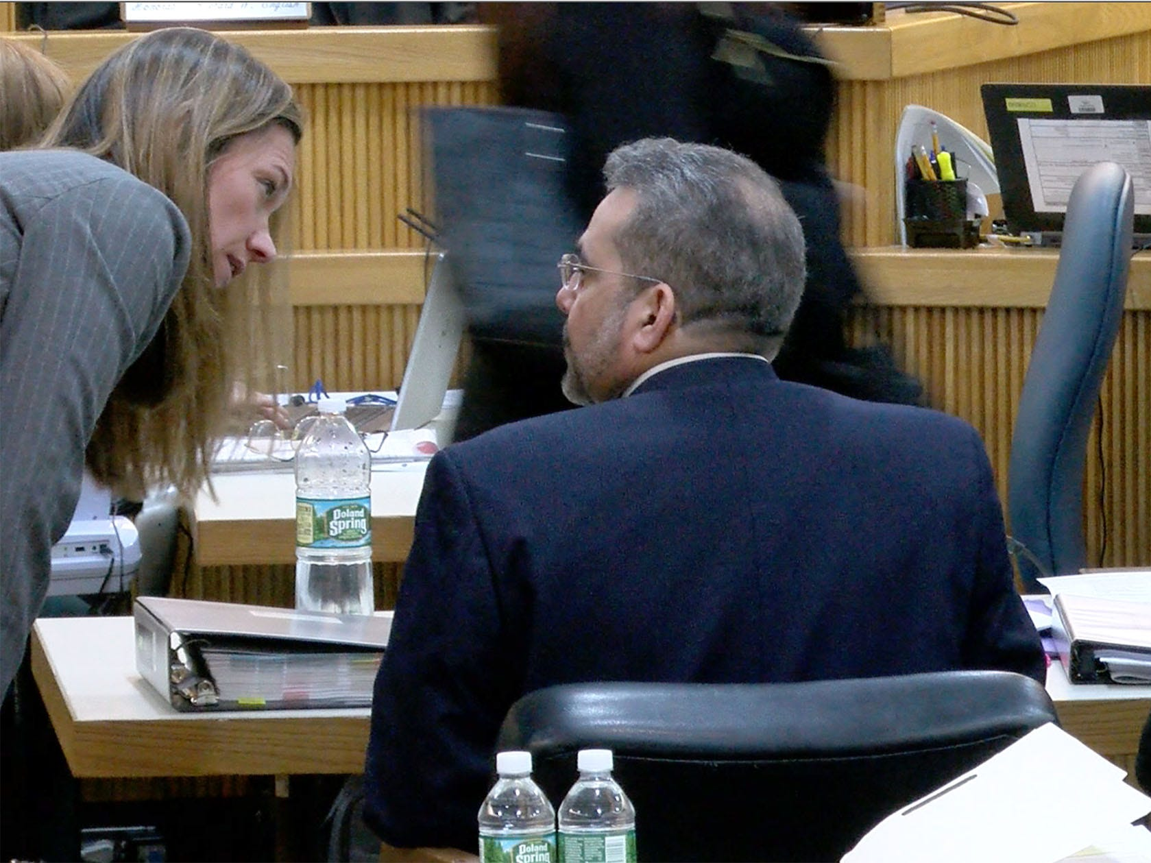 Monmouth County Assistant Prosecutor Meghan Doyle speaks with defense attorney Carlos Dias-Cobo in State Superior Court Judge Richard English's courtroom in Freehold Tuesday, February 5, 2019.  Liam McAtasney (at right) is on trial there for the murder of Sarah Stern.