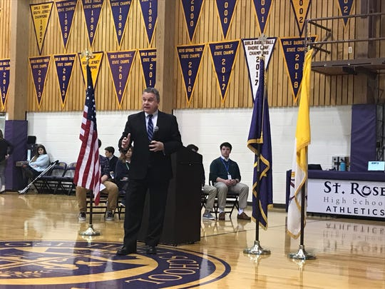 Rep. Chris Smith talks to students at St. Rose High School in Belmar on Feb. 5, 2019.
