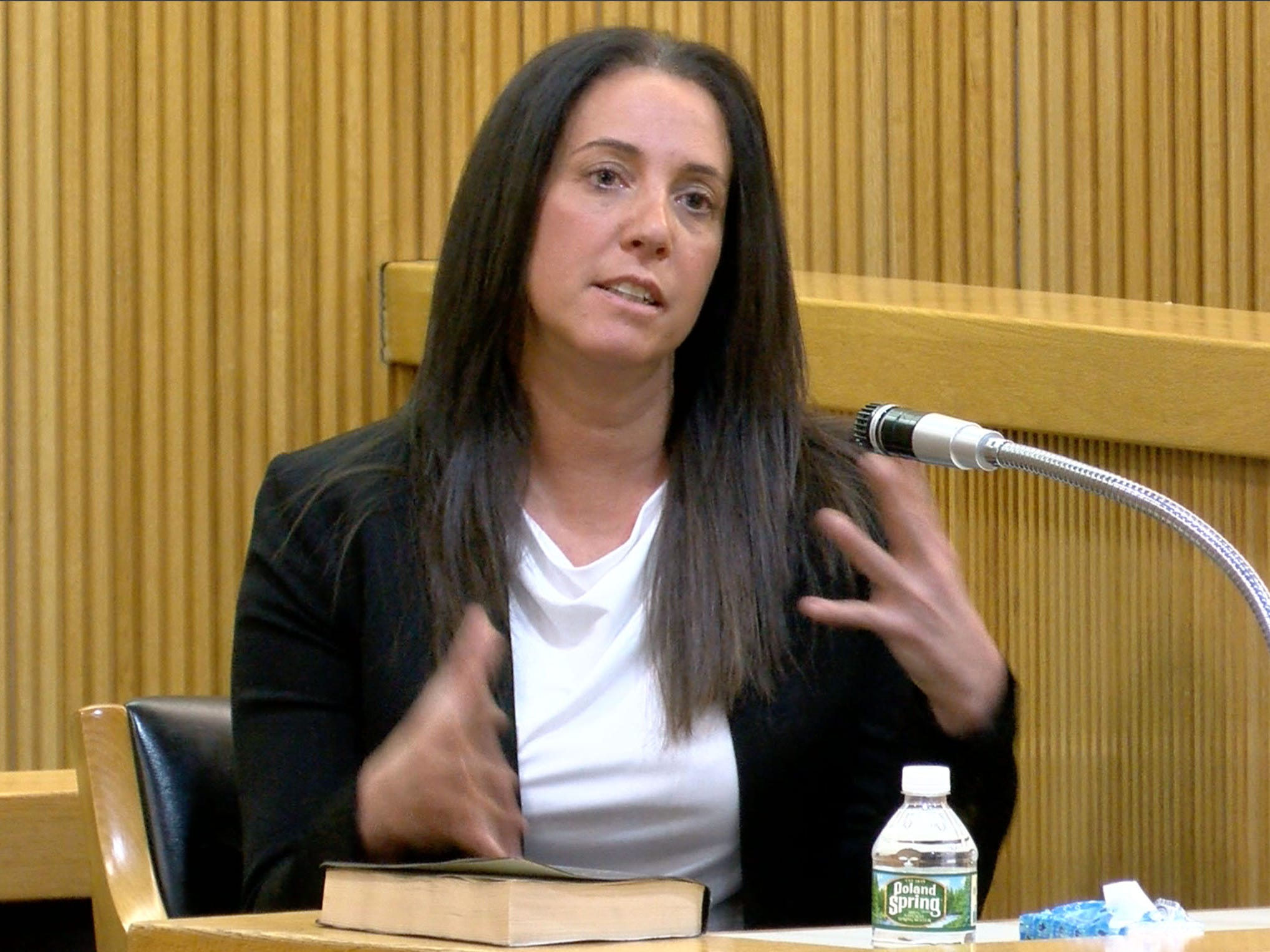 Esther D'Amico, manager of Bruno's Pizzeria, speaks about her former employee Sarah Stern in State Superior Court in Freehold Tuesday, February 5, 2019.  Liam McAtasney is on trial for the murder of Sarah Stern.