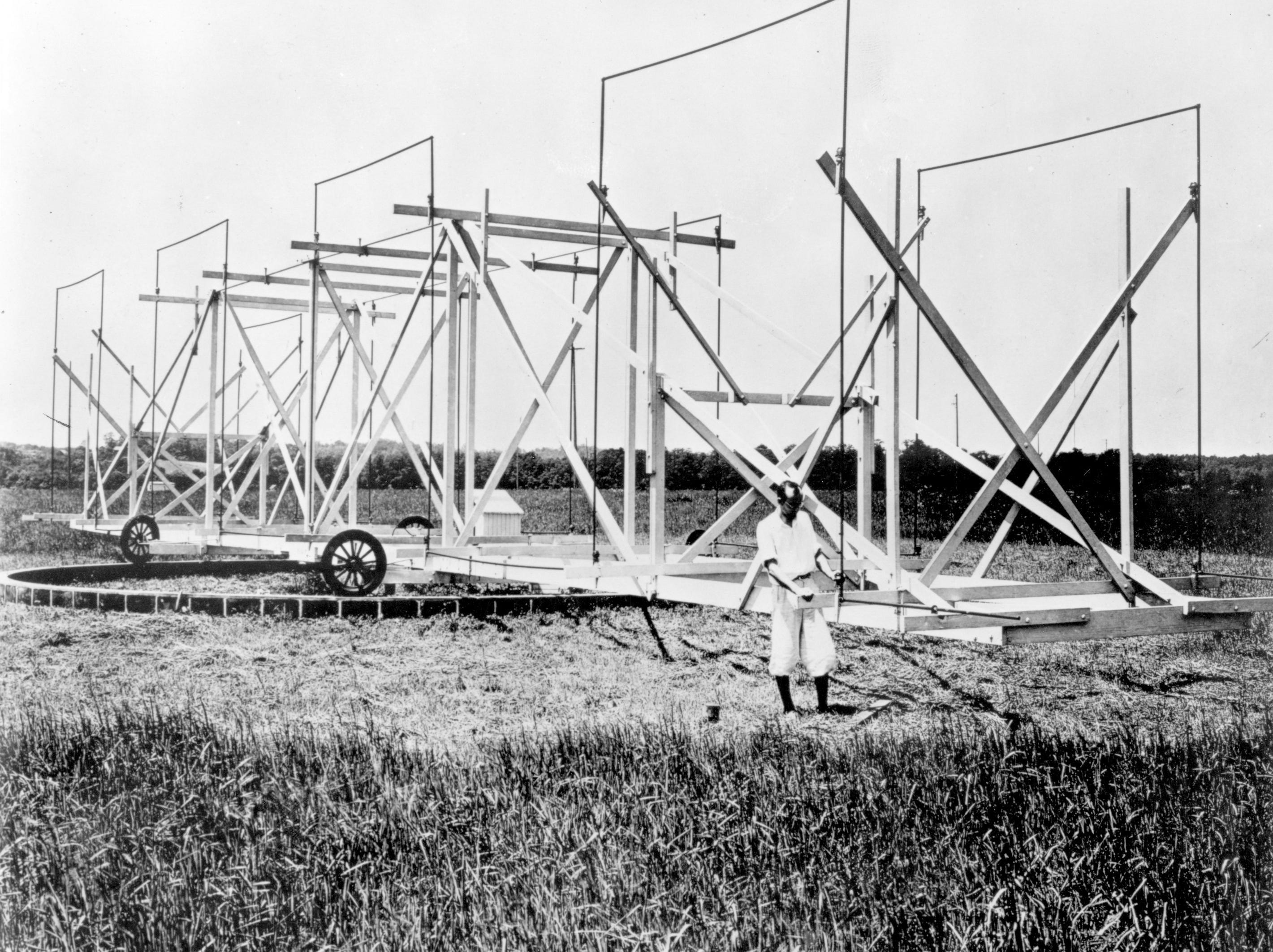 Karl G. Jansky of Bell Labs in 1933 with the rotating antenna he used to discover radio waves coming from space.  Photo courtesy of Alcatel-Lucent Bell Labs