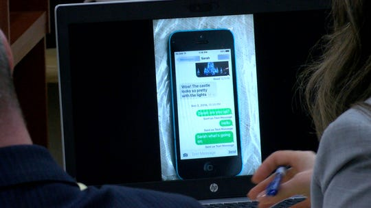 Some of the last text messages that Michael Stern shared with his daughter Sarah Stern are displayed in State Superior Court in Freehold Tuesday, February 5, 2019.  Liam McAtasney is on trial for the murder of Sarah Stern.