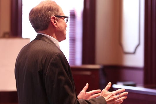Attorney's argue before Judge Marlene Lynch Ford regarding the an injunction to temporarily halt the construction of homes on the 27-hole Eagle Ridge Golf Course. Attorney Paul Schneider.         Toms River, NJTuesday, February 5, 2019