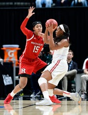 Rutgers senior Caitlin Jenkins has been suspended indefinitely after her arrest on Saturday in connection with a domestic violence incident