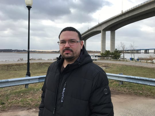 Music engineer Lorenzo Cardona on the Perth Amboy waterfront.