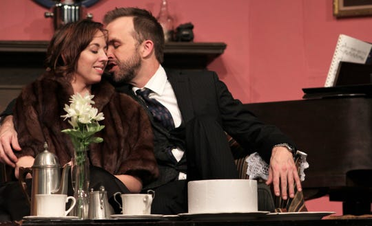 """George (Keith May) nuzzles Doris (Amanda Keith) five years after they begin an affair in this rehearsal scene from """"Same Time, Next Year,"""" the new Abilene Community Theatre production. It will be performed six times over the next two weekends."""
