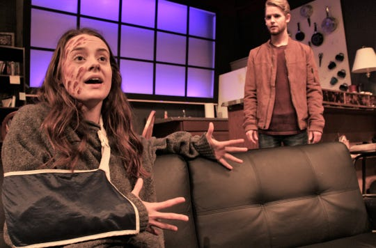 "Bridgett Mistrot played a journalist injured in a roadside bombing in Iraq in the February 2019 production of ""Time Stands Still"" at HSU."