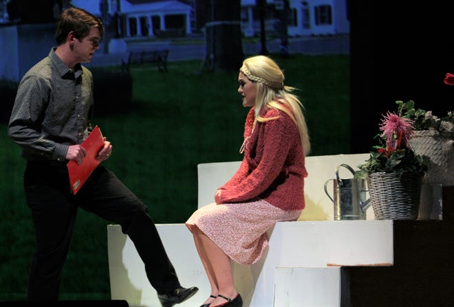 """Will Bloom (James Melson) meets Jenny HIll (Kira Tanner), whom he mistakenly believes years before had a fling with his father in this rehearsal scene was """"Big Fish,"""" which completes a two-weekend run at Abilene High School."""